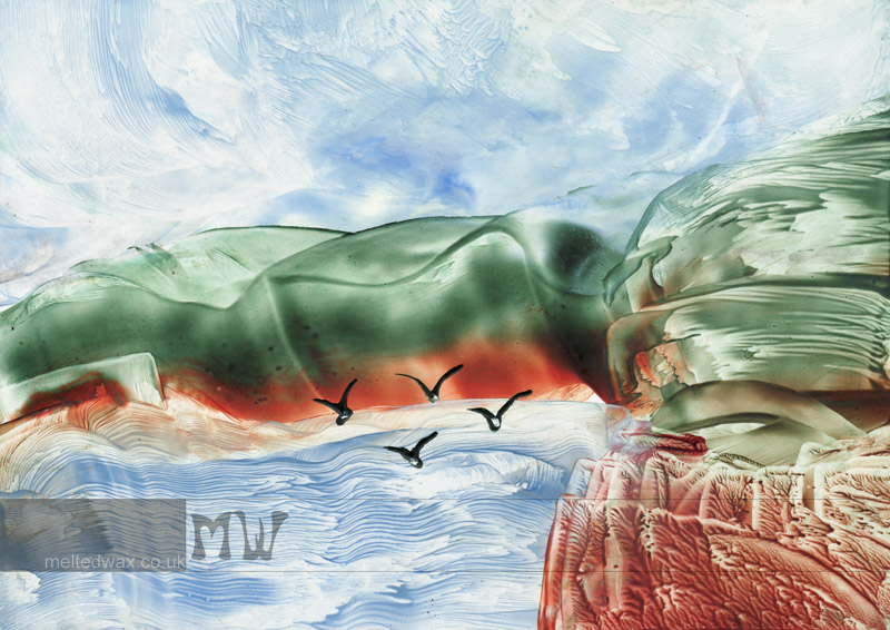 Birds Over Cove - ©2012 Elaine Scarlett / Melted Wax